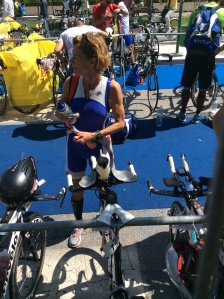 Susan Edney in transition before Ironman 70.3 Italy today