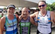 Karen Smith (L) races today at Island Games and Mark Wilcox (R) is racing at Ironman Austria and Neil de ste Croix (C) is Island Games team manager for triathlon.