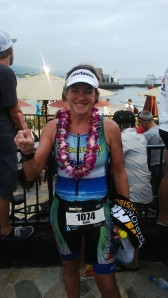 KAREN SMITH AT THE FINISH LINE IN KONA TODAY HAVING WON THE FEMALE 45-49 IRONMAN WORLD CHAMPIONSHIPS AGE GROUP