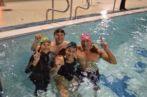 The winning team at Monday's pool session race
