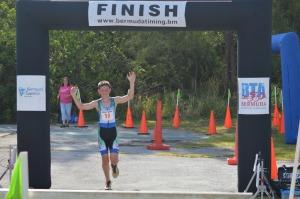 Matthew Oliveira winning last year's Catlin Sprint Triathlon