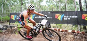 FLORA DUFFY ON HER WAY TO WINNING THE XTERRA ASIA PACIFIC CHAMPIONSHIPS 2015