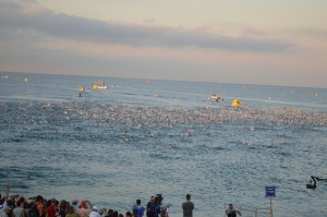 THE START AT IRONMAN NICE THIS MORNING